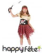 Costume de petite piratesse motif tete de mort
