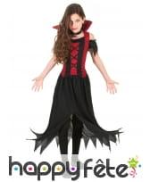Costume de petite vampire dentelé noir et rouge
