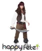 Costume de pirate avec pantalon ligné marron