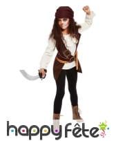 Costume de pirate marron pour fille avec bandeau, image 1