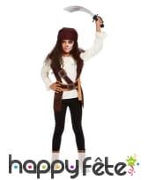 Costume de pirate marron pour fille avec bandeau