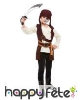 Costume de pirate marron pour garçon avec bandeau, image 1