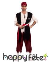 Costume de pirate noir et rouge rayé, adulte