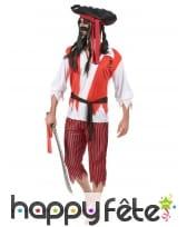 Costume de pirate rouge blanc noir pour adulte, image 1