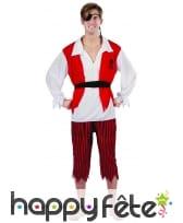 Costume de pirate rouge blanc noir pour adulte, image 3