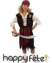 Costume de piratesse ligné rouge et noir, enfant