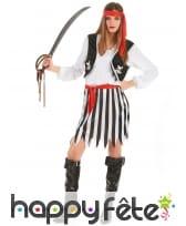 Costume de piratesse robe rayée noire et blanche