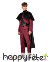Costume de prince rouge avec cape noire, adulte, image 1