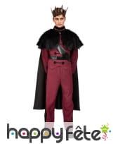 Costume de prince rouge avec cape noire, adulte