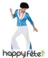 Costume disco pattes d'eph bleu et blanc, homme, image 1