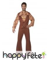 Costume disco pattes d'eph marron pour homme
