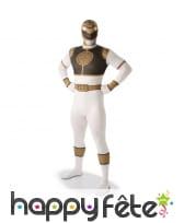 Costume du Power Rangers blanc seconde peau