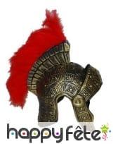 Casque de romain avec plumes rouges, adulte