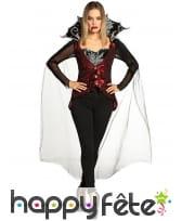 Costume de reine vampire rouge et noir avec cape