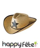 Chapeau de sherif en paille adulte
