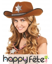 Chapeau de sherif marron pour adulte, image 1