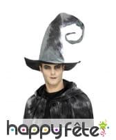 Chapeau de sorcière gris avec pointe en spirale, image 1