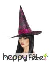 Chapeau de sorcière noir avec paillettes rose