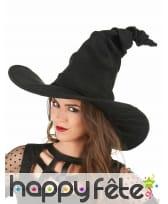Chapeau de sorcière noir effet velours, image 1