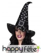Chapeau de sorcière noir pointu étoilé