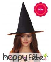 Chapeau de sorcière noir pour enfant, liseré orange