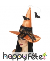 Chapeau de sorcière orange avec chauve souris