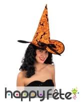 Chapeau de sorcière orange imprimés chauve-souris