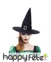 Chapeau de sorcière pointu noir en velours