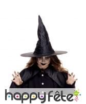 Chapeau de sorcière pointu noir pour enfant