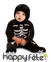 Combinaison de squelette noir pour bébé