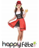 Costume de serveuse bavaroise noire et rouge