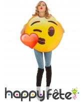 Costume de smiley bisou coeur pour adulte