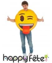Costume de smiley clin d'oeil tire langue, adulte
