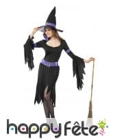 Costume de sorcière noir et violet manches évasées