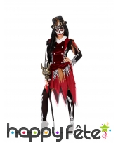 Costume de sorcière squelette rouge noir, adulte