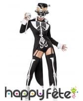 Costume de squelette Madame Loyal noir et blanc