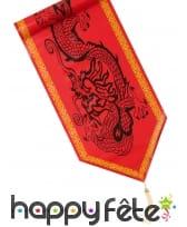 Chemin de table rouge imprimé dragon