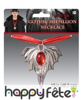 Collier de vampire avec médaillon et pierre rouge, image 1