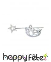 Couronne et baguette de princesse étoile argentée