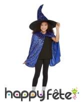 Cape et chapeau de sorcière bleue pour enfant, image 1