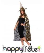 Cape et chapeau noirs de sorcière motifs dorés