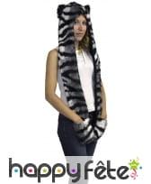 Capuche écharpe chat tigre avec poches