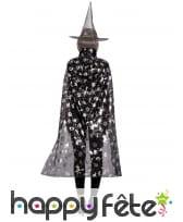 Chapeau et cape de sorcière noirs motifs halloween, image 1