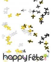 Confettis en forme de croix argentées et dorées