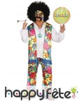 Costume esprit hippie avec grosses fleurs adulte