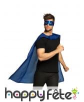 Cape et masque bleu de super héros pour adulte, image 1