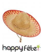 Chapeau en paille avec contour à motifs