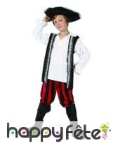 Costume enfant pirate pantalon rouge et noir