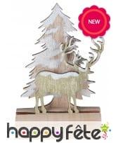 Cerf et sapin décoratif pour bûche de Noel, 11cm