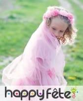 Couronne et voile de fleurs roses pour enfant
